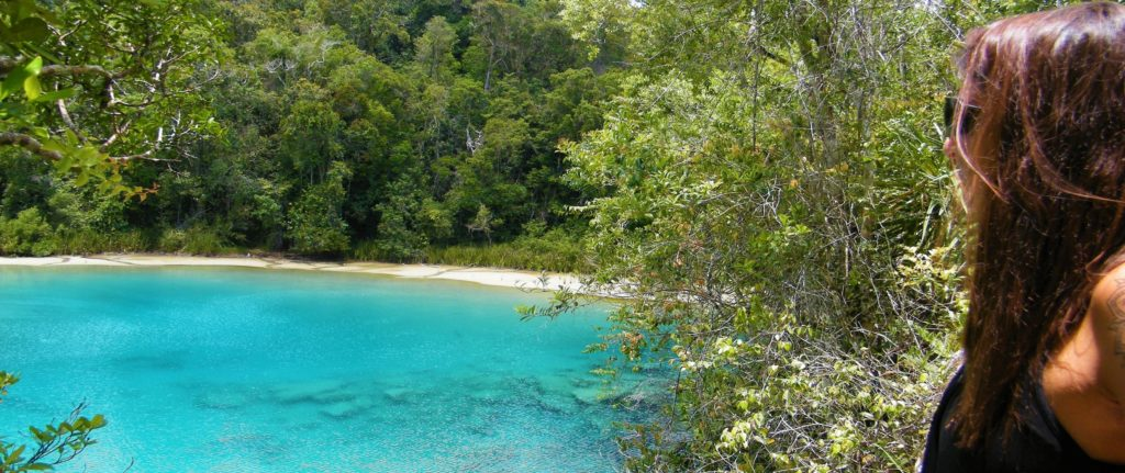 Crystal clear blue lake in West Papua