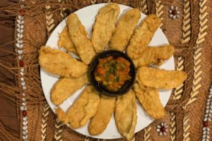 Plate of fried tempe with Sambal
