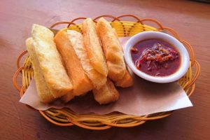 A plate of Fried Cassava with Sambal