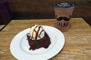 Hot Brownie with Ice Cream and Iced Chocolate