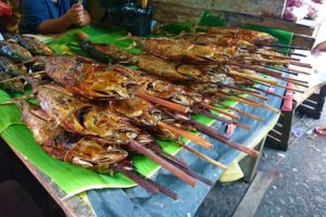 Grilled Fish on Sticks sold at the Market